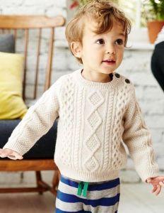 Beige crochet jumper for boy