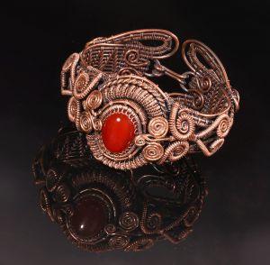 Carnelian copper wire wrap bracelet