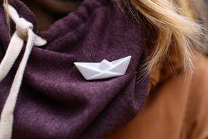 Ceramic white origami sailboat pendant