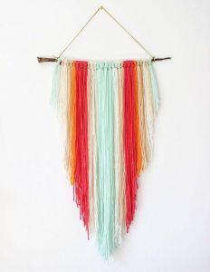 Colorful yarn wall decor