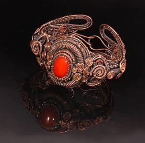 Copper wire wrapped carnelian bracelet