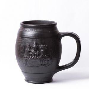 "Black ceramic mug ""Castle"""