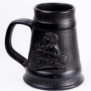 """Black ceramic mug """"Kozak"""""""