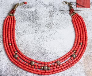 Red clay necklace