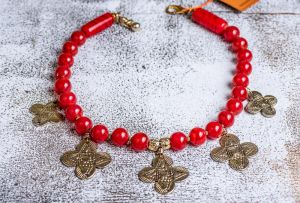Red glass cross necklace