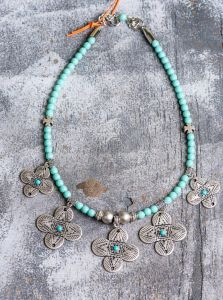 Tribal glass bead necklace
