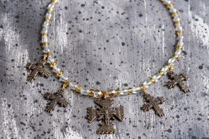 Ethnic glass bead necklace with crosses
