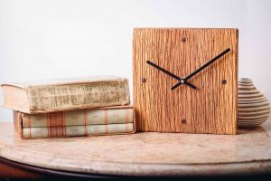 Square Wall Wooden Rustic Clock