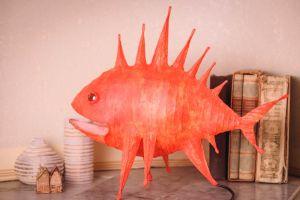 """Paper mache lamp """"Sea dragon"""""""