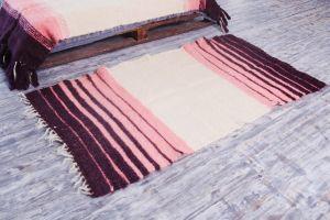 Handmade wool pink rug