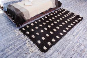 Luxury black and white wool rug