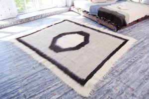 Light grey wool fluffy rug