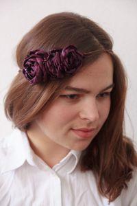 """Flower headband """"Purple roses"""""""