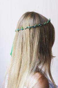 """Flower hair accessories. Hair band """"Green wave"""""""
