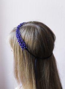 "Vintage hair accessories. Hair band ""Blue berries"""