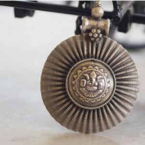 Tribe silver round pendant
