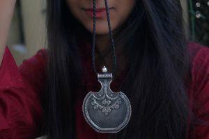 Chunky silver tribal pendant