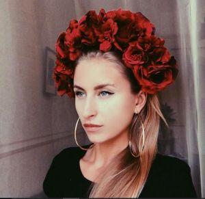 "Flower headband ""Element of red"""