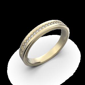 Yellow gold diamond wedding band for her 0,076 carat