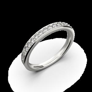 White gold diamond wedding band for her 0,161 carat