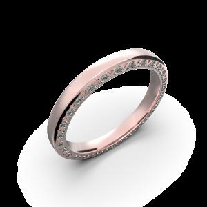 Rose gold diamond wedding band for her 0,224 carat