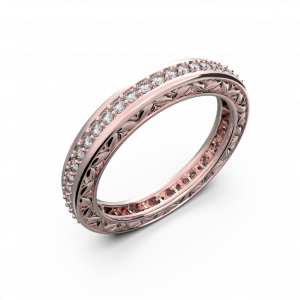 Rose gold and diamond wedding band for women