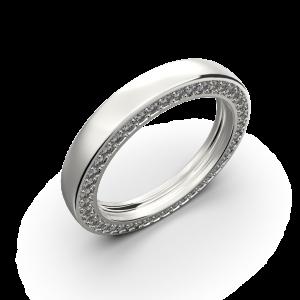 White gold wedding band with diamonds