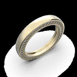 Yellow gold wedding band with diamonds