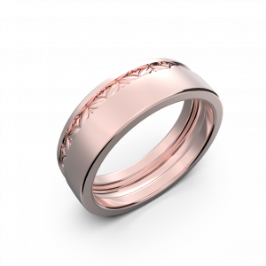 Rose gold wide wedding band without diamonds
