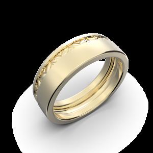 Yellow gold wide wedding band without diamonds