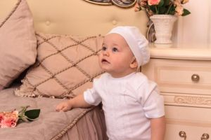 Newborn clothes. Baby boy baptism outfit