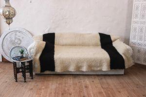 "Warm black - white blanket for bed ""Zebra pattern"""
