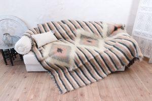 """Orange throw blanket for couch """"Orange lozenge"""""""