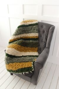 """Green-olive throw blanket for couch """"Olive stripes"""""""