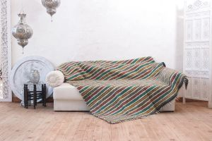 """Multicolored woven blanket for sofa """"Colorful stripes"""""""