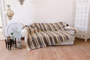 "Natural 100% wool sofa throw ""Beige background"""