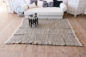 "Handwoven sofa throw ""Peach-gray pattern"""