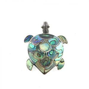 Abalone shell pendant turtle