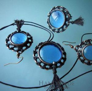 """Antique style jewelry set """"Ocean"""""""