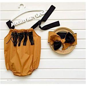 Baby girl summer bodysuit with hair bow