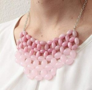 """Beaded necklace """"Pink stone"""""""