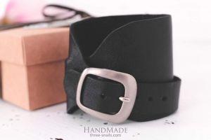 "Black leather bracelet for men ""Wild child"""