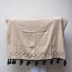 Black tassel cotton blanket