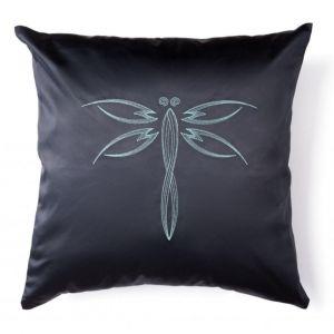 "Black decorative cushion ""Dragonfly"""