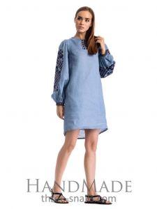 "Blue embroidered dress ""Sky blue"""