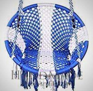 Blue macrame patio hammock
