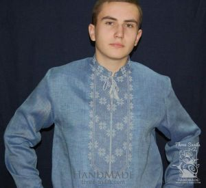"""Blue men shirt with embroidery """"Water"""""""
