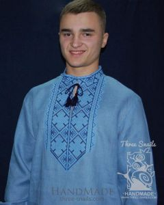 """Blue shirt man with embroidery """"Blue skies"""""""