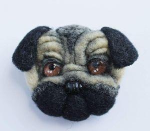 "Brooch pin ""Black pug-dog"""