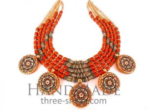 """Ceramic Bead Necklace """"Red Flare"""""""